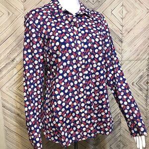 GAP S fitted boyfriend shirt inverted cherries